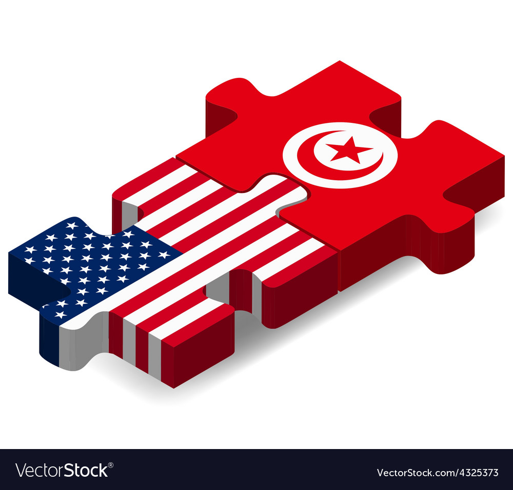 Usa And Tunisia Flags In Puzzle Royalty Free Vector Image