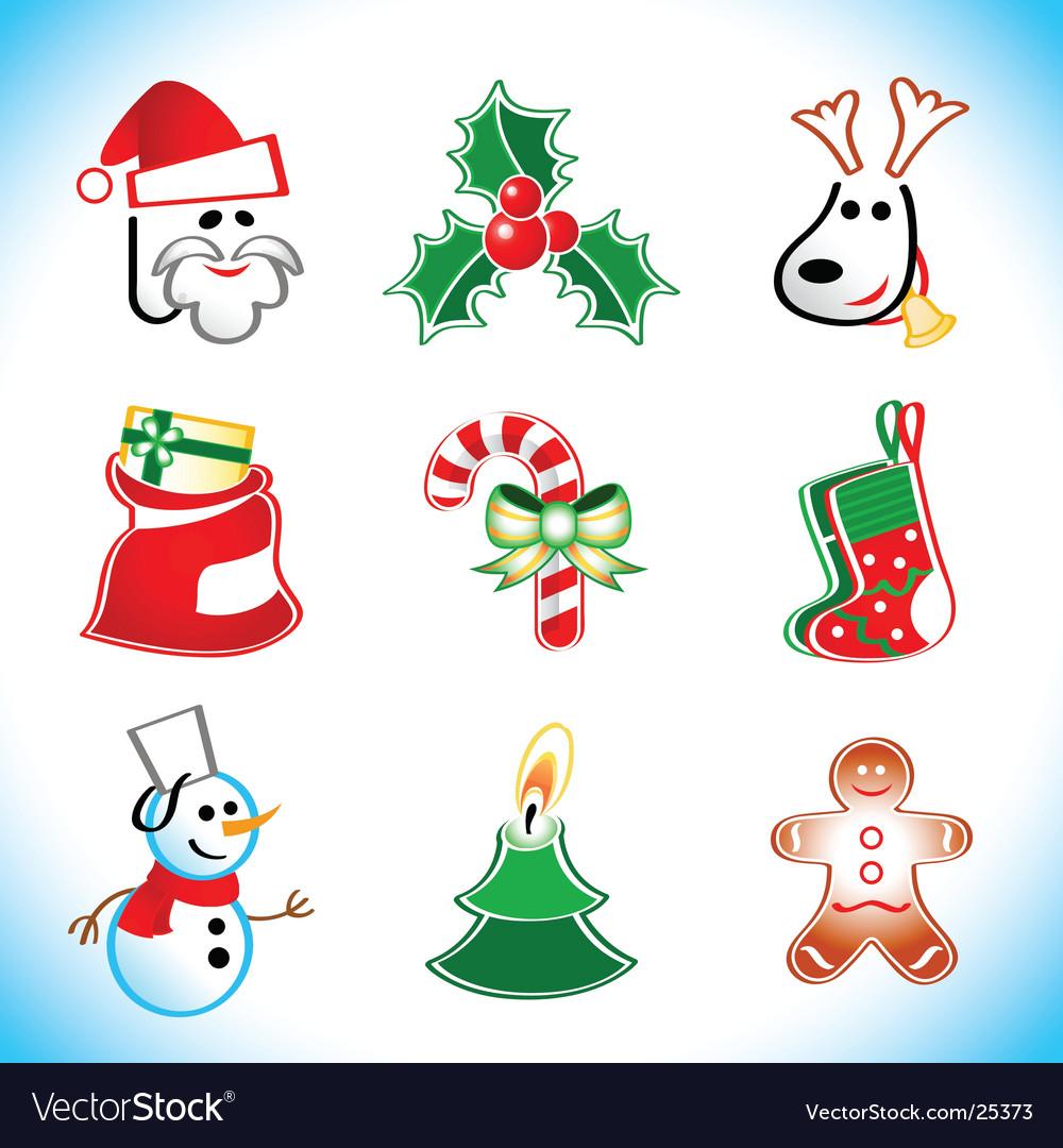 Xmas santa icons vector image