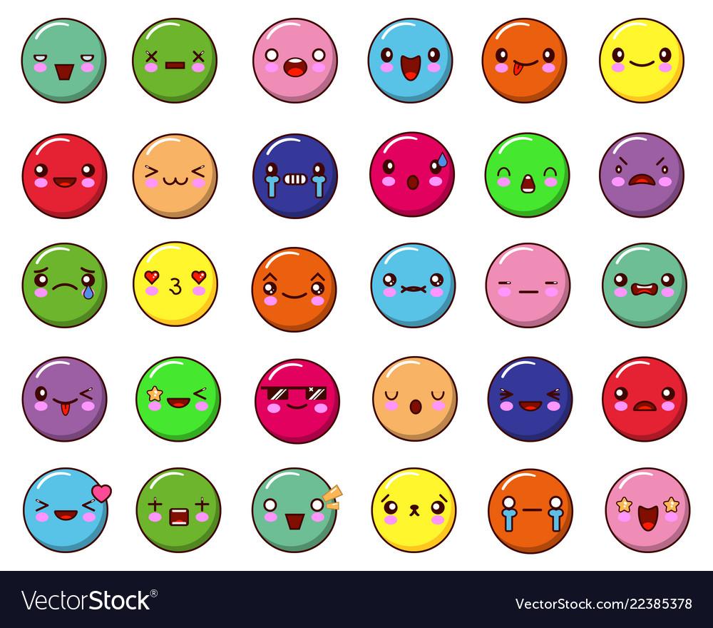 Abstract funny flat style emoji emoticon set