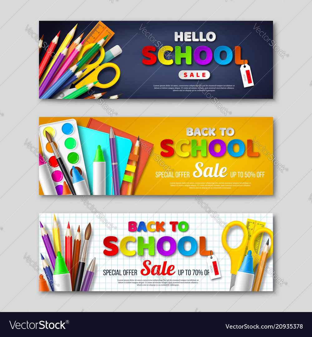 Back to school sale horizontal banners with 3d