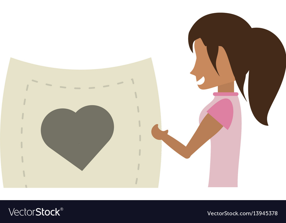 Cartoon woman holding paper heart romance