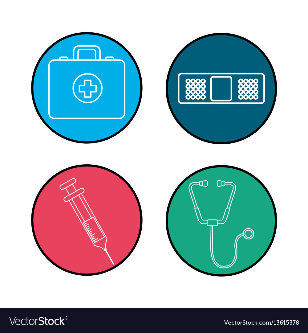 Hospital tools and first aid icon Royalty Free Vector Image