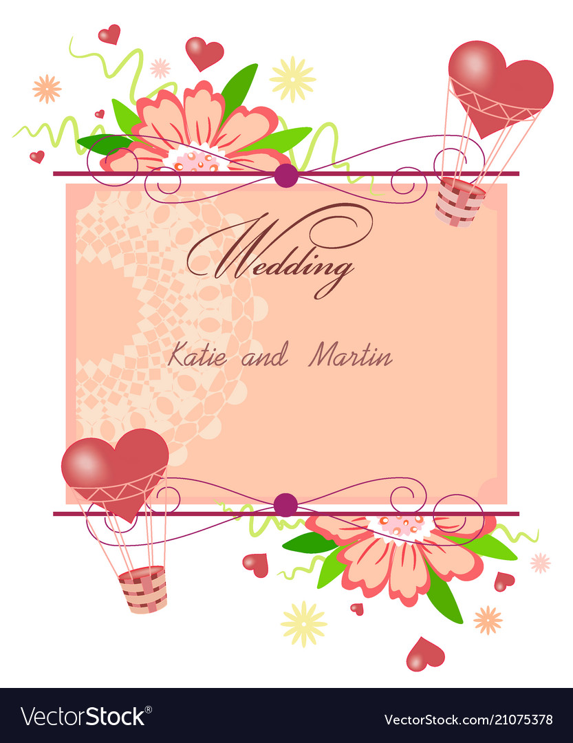 Invitation card with hearts and flowers