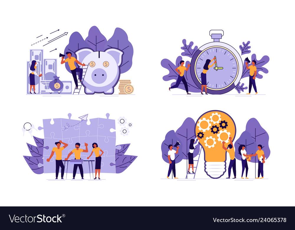 Set of planning development of ideas concept