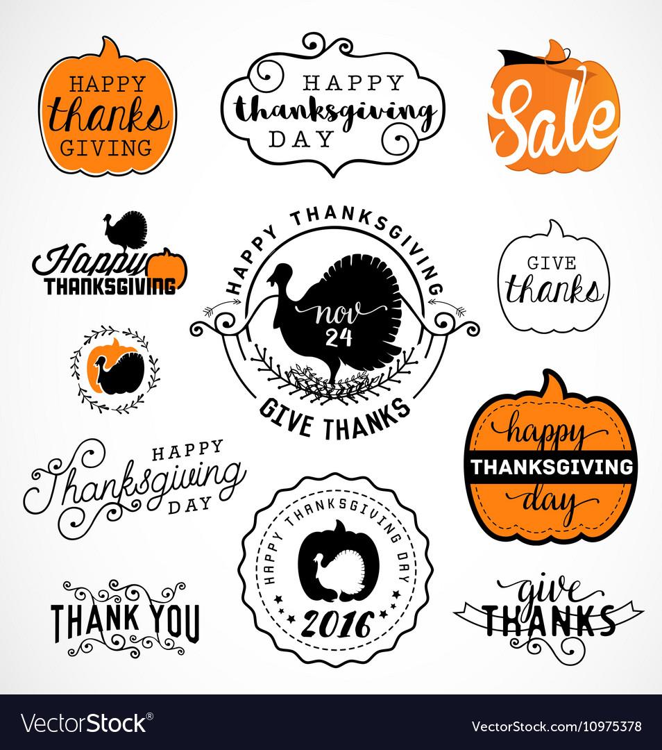 Set thanksgiving calligraphic