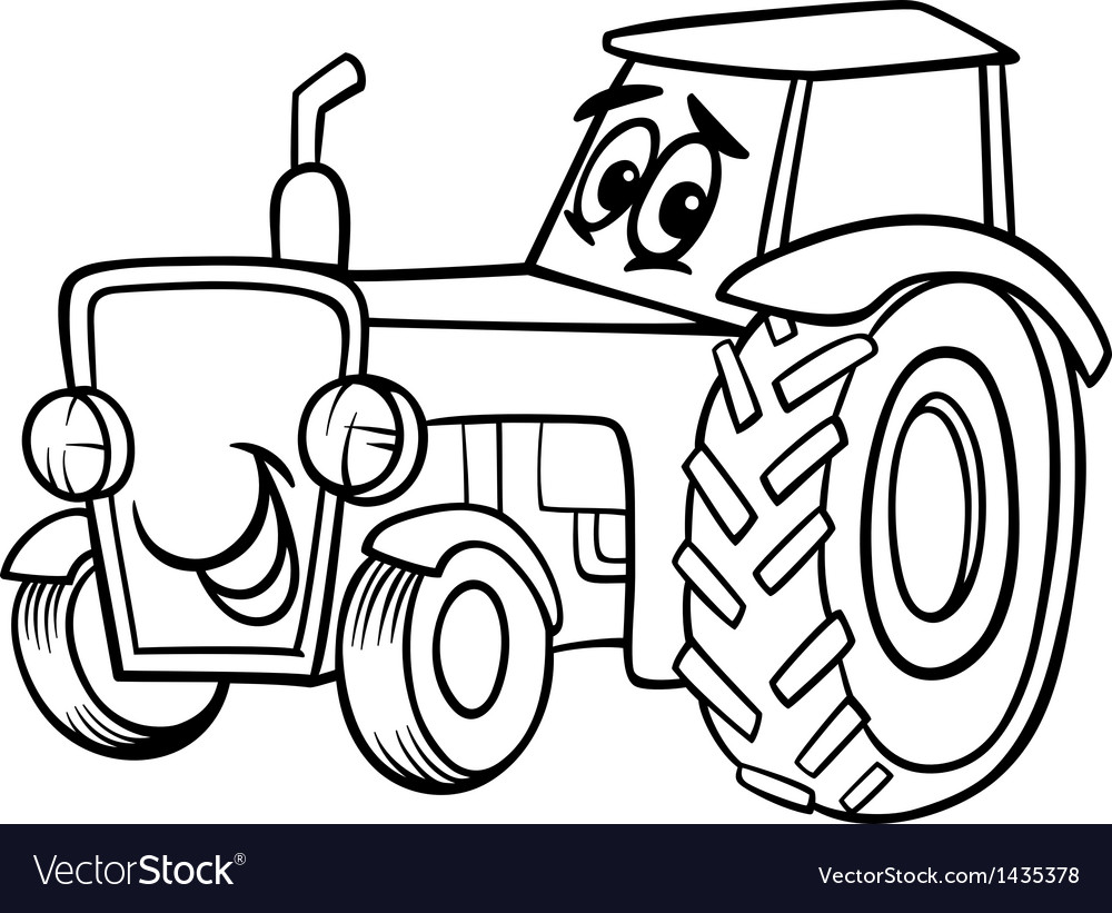 Tractor cartoon for coloring book vector image