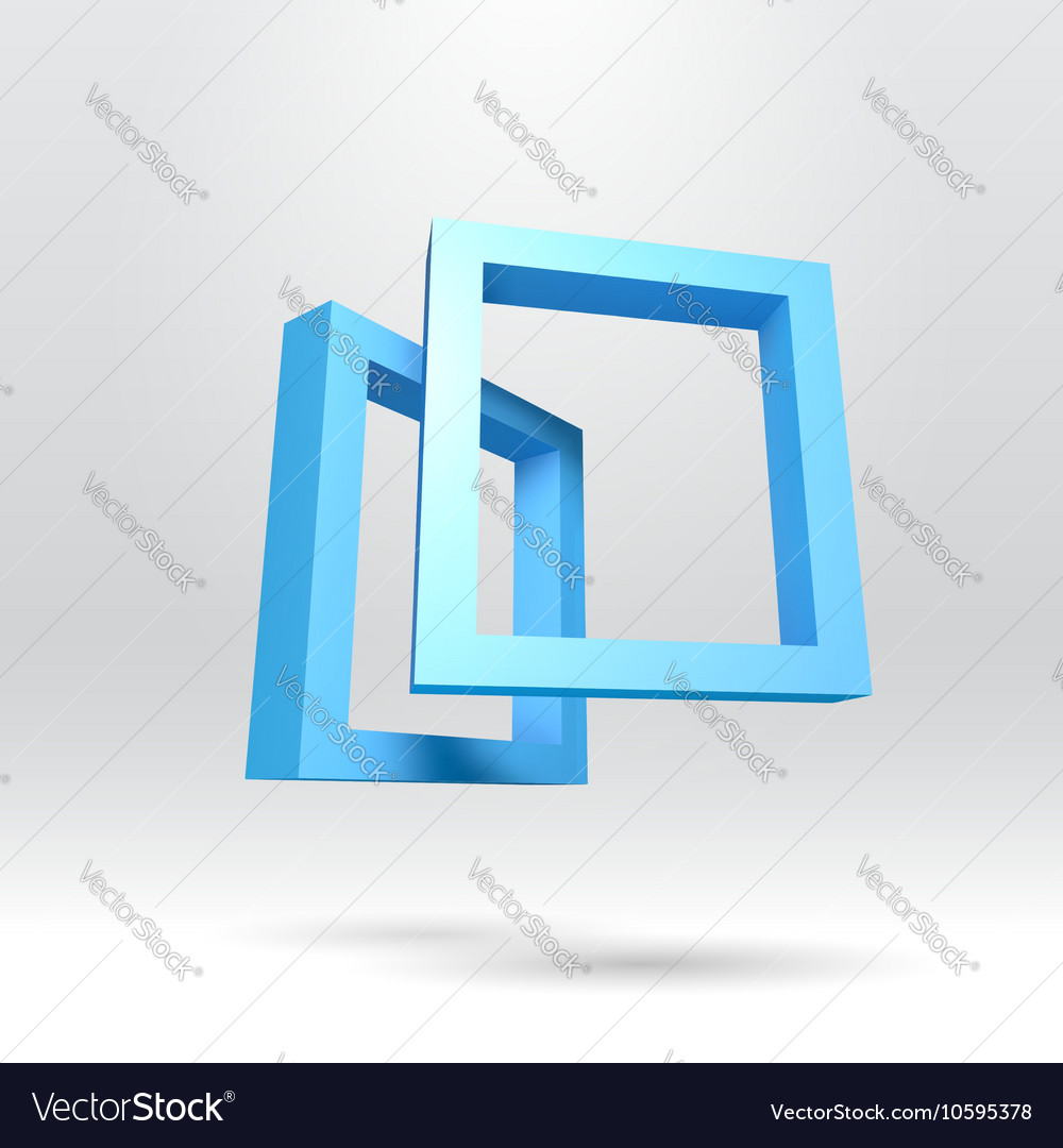 Two blue rectangular 3D frames Royalty Free Vector Image