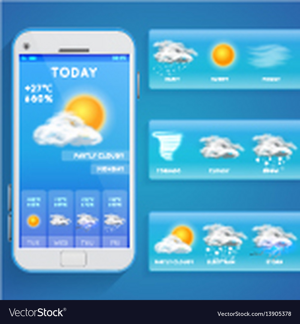 Weather forecast app on smartphone screen and