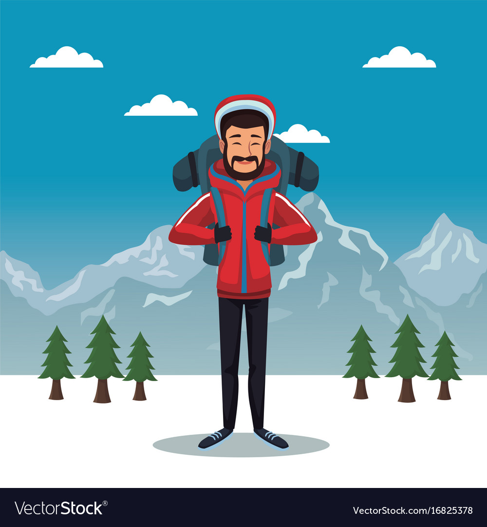 Winter mountain landscape poster with scaler man