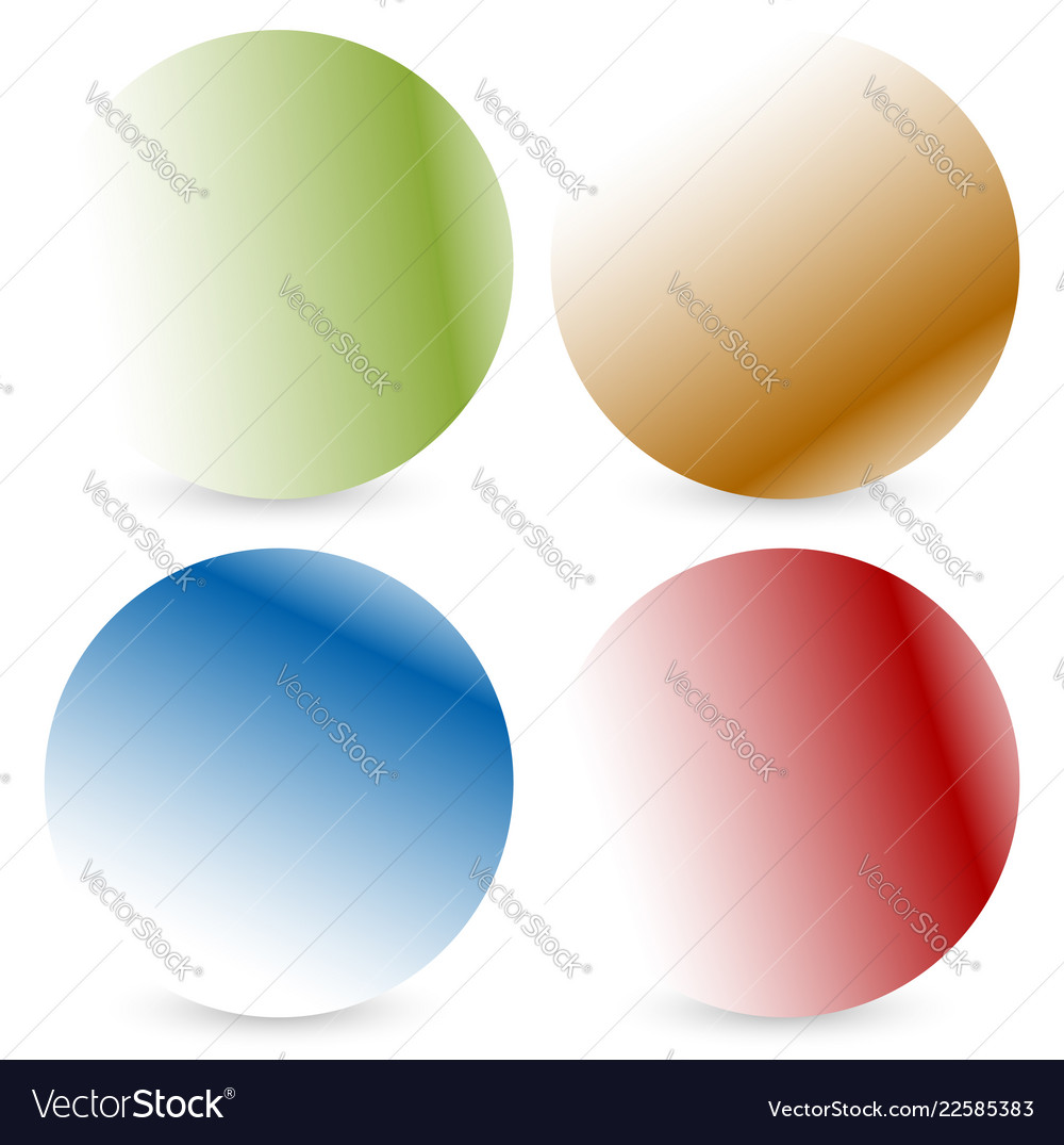 Bright colorful button badge shapes with shadow vector image on VectorStock