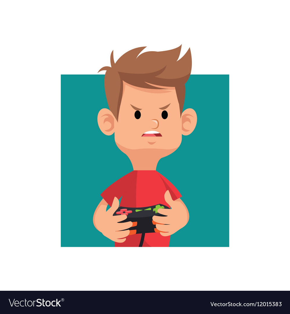 Cartoon boy playing video game with controller