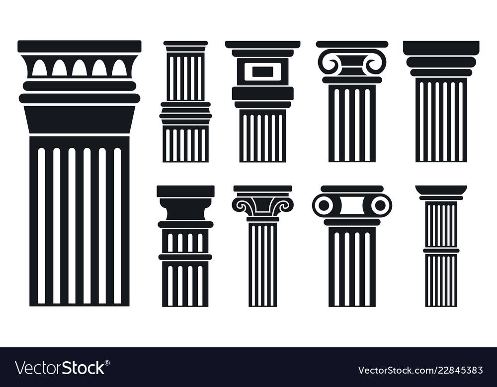 Column icon set simple style