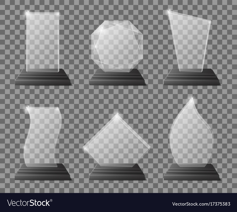 Glass transparent trophy awards with dark stand