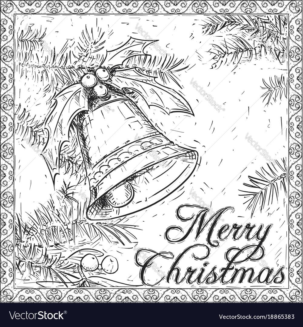 Christmas Card Drawing.Hand Drawing Christmas Bell Card Design