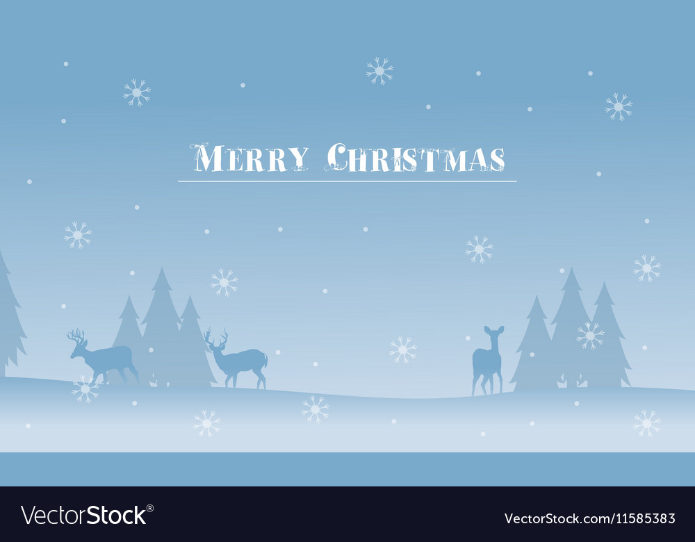 Merry Christmas deer and spruce silhouettes