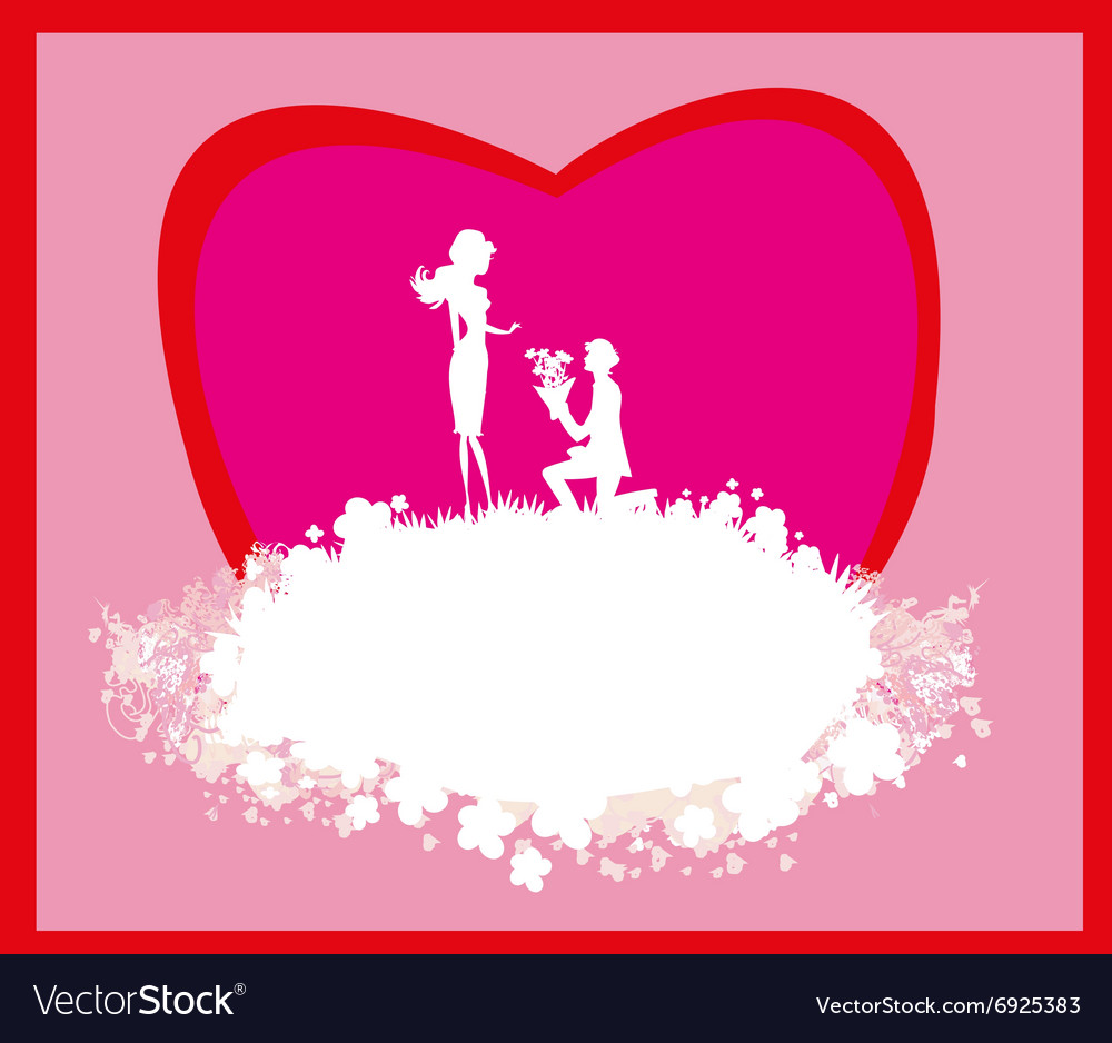 Proposal wedding - couple silhouette card Vector Image