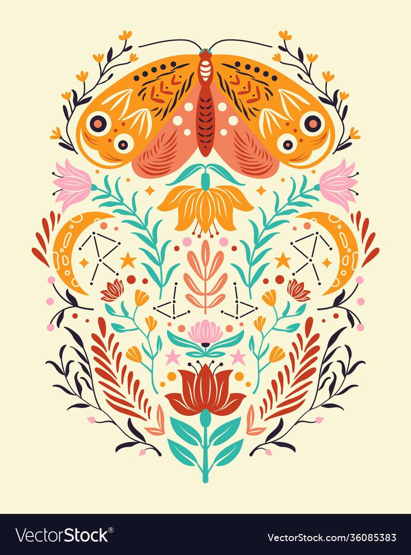 Spring motifs in folk art style colorful