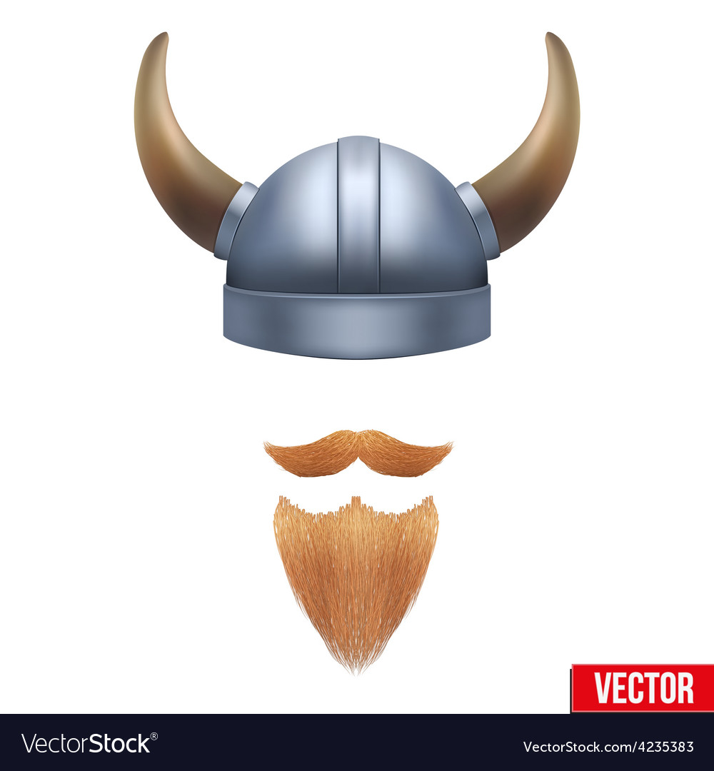 Viking symbol with horned helmet and beard vector image