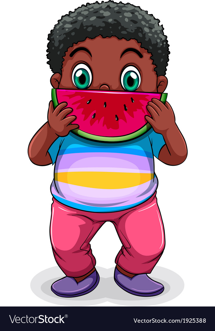 A Black fat man eating watermelon vector image