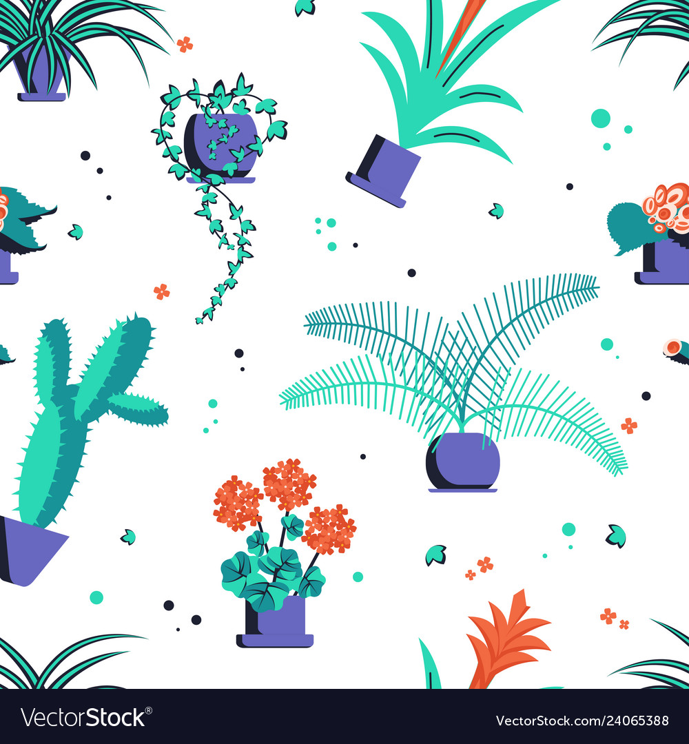 Abstract seamless pattern with home plant