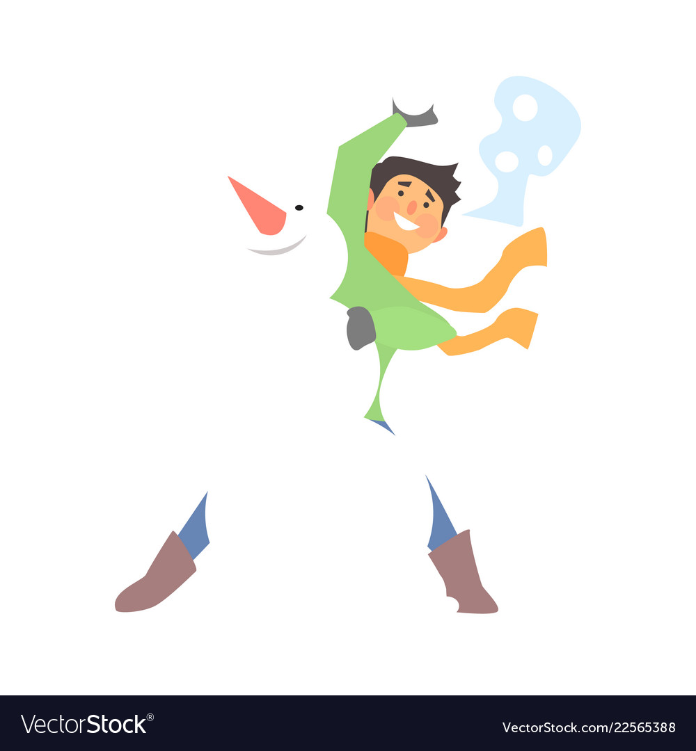 Boy throwing snowball and a snowman