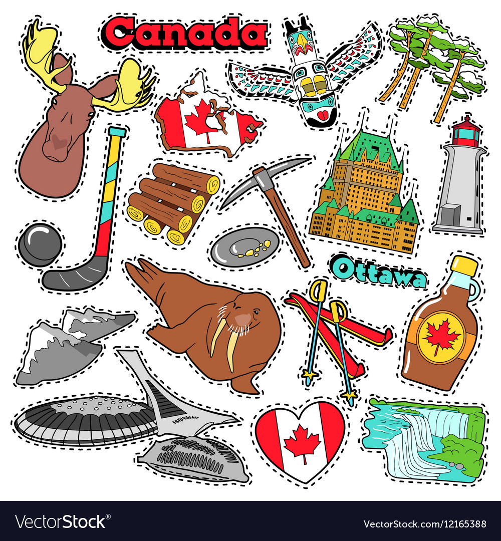 Canada Travel Scrapbook Stickers Patches Badges Vector Image