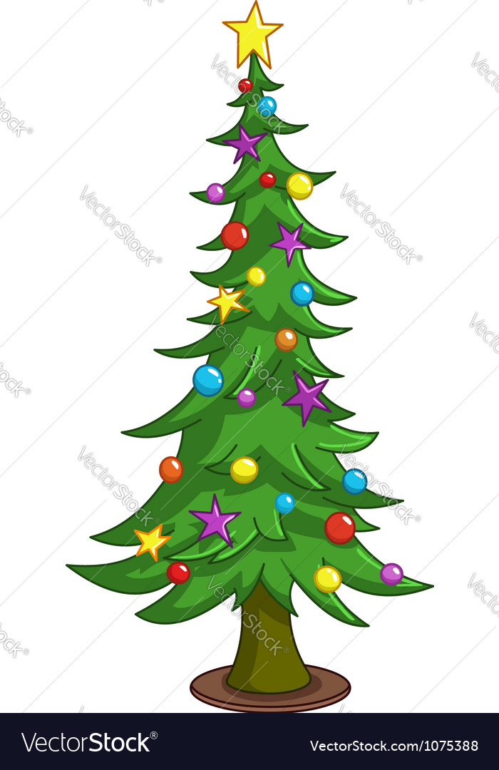 Christmas Tree Vector Image.Cartoon Christmas Tree