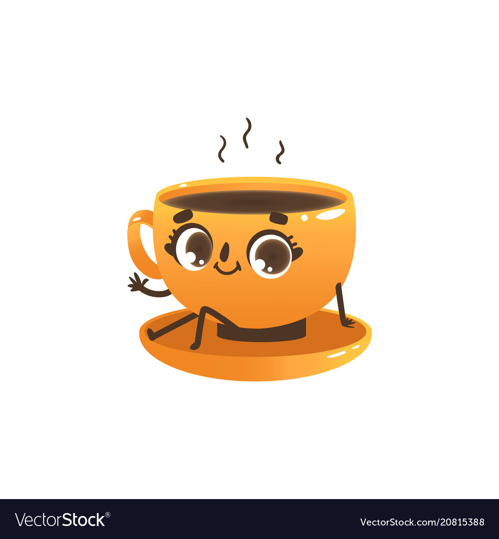 Of Or Cup Coffee Tea Character Cute Cartoon bWEDHIe2Y9