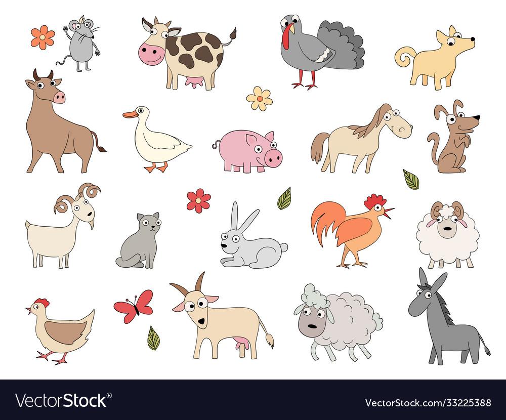 Domestic animals cute funny farm horse pig