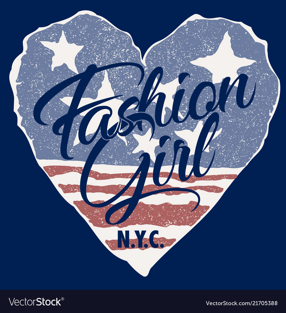 Fashion girl with usa heart flag background