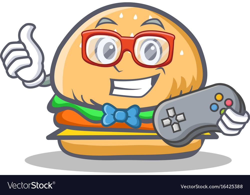 Gamer burger character fast food vector image