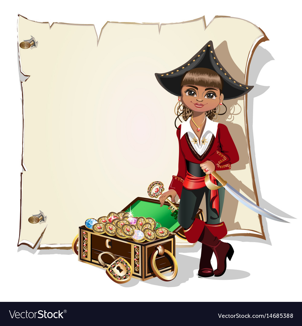 Girl pirate blank frame Royalty Free Vector Image