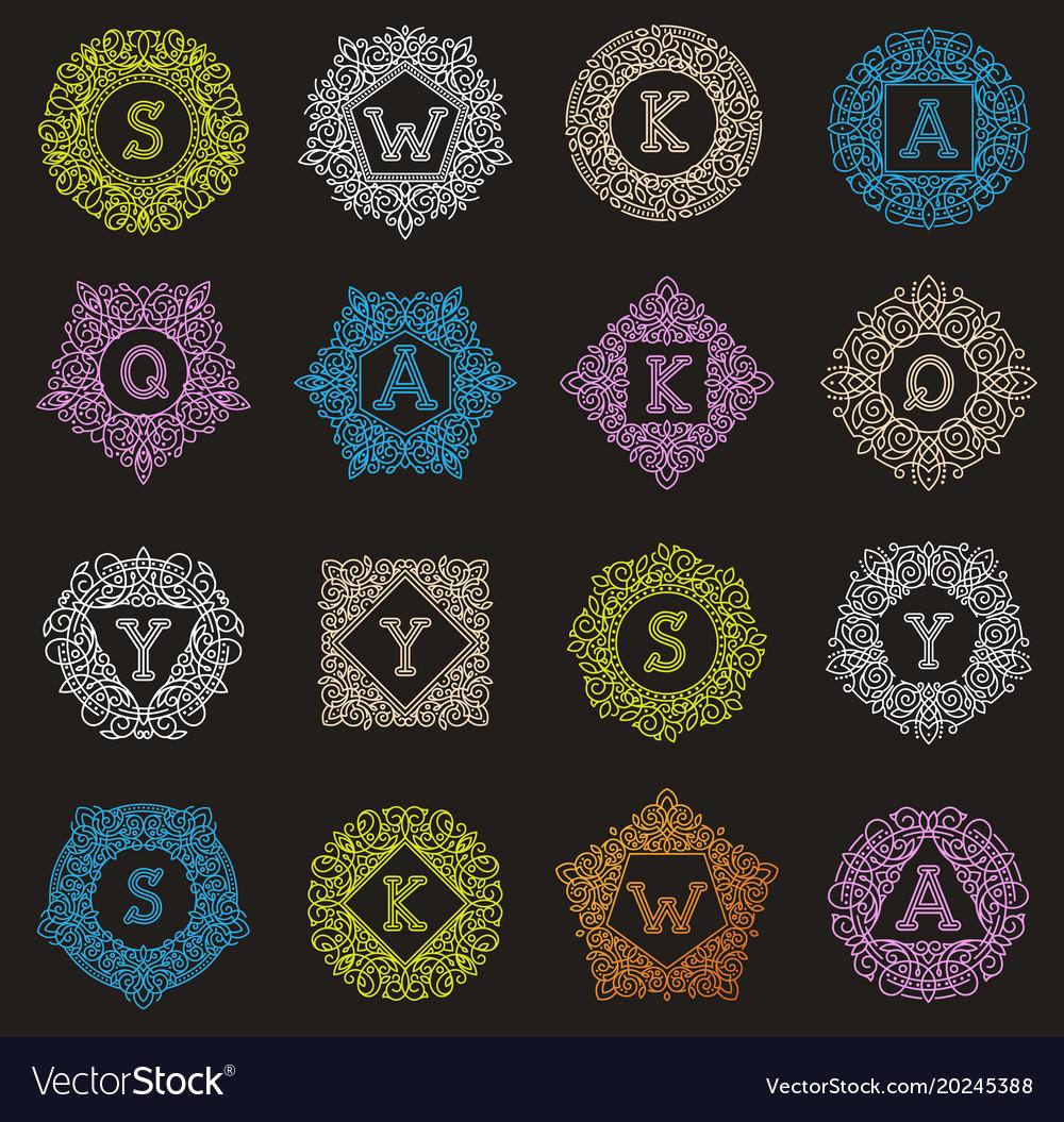 Monogram letter emblem vintage letters vector image