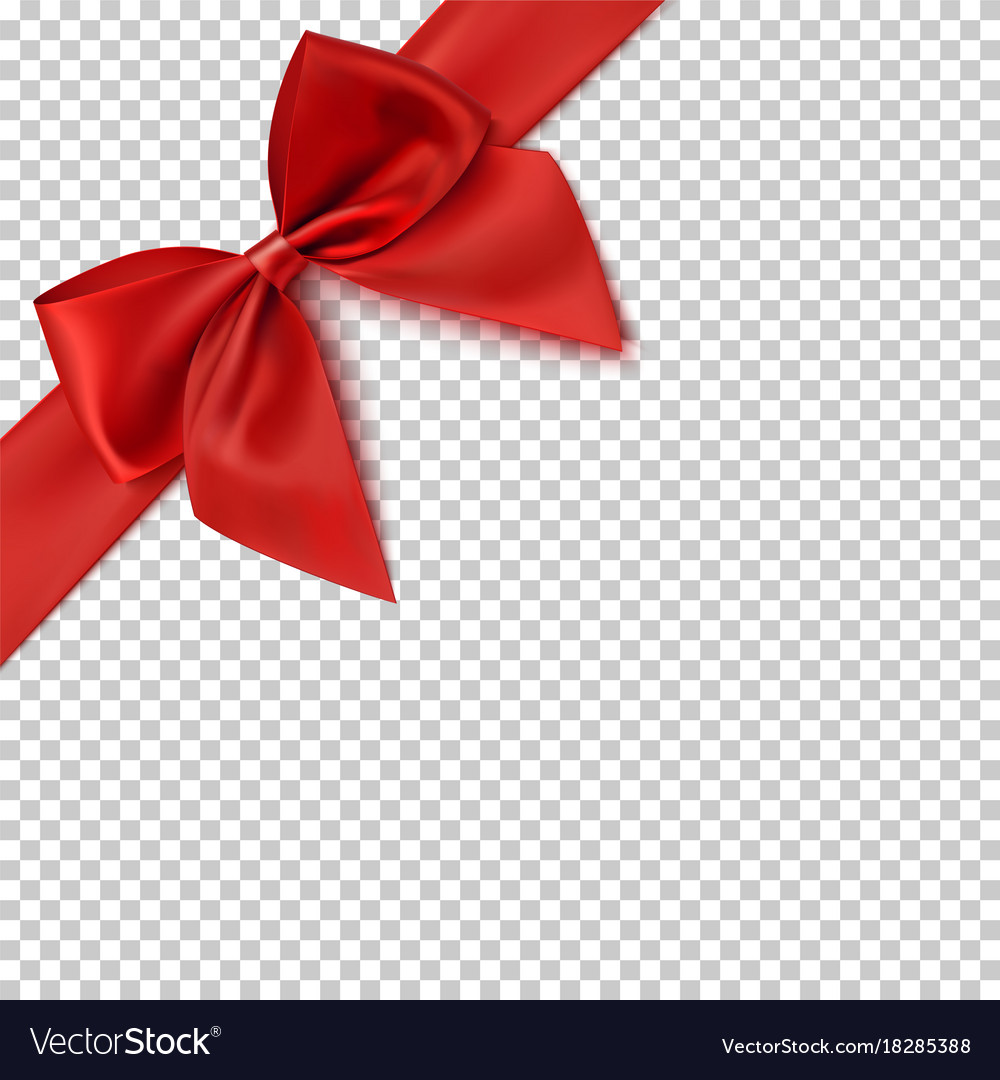 Realistic red bow and ribbon