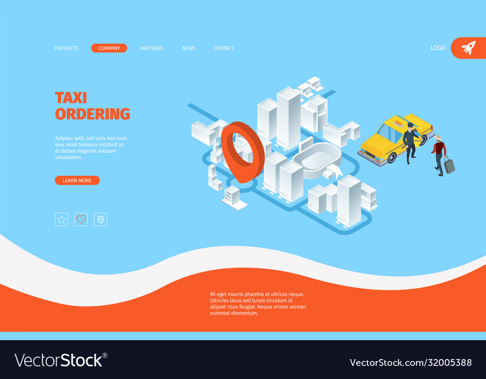 Taxi landing advertizing business web page