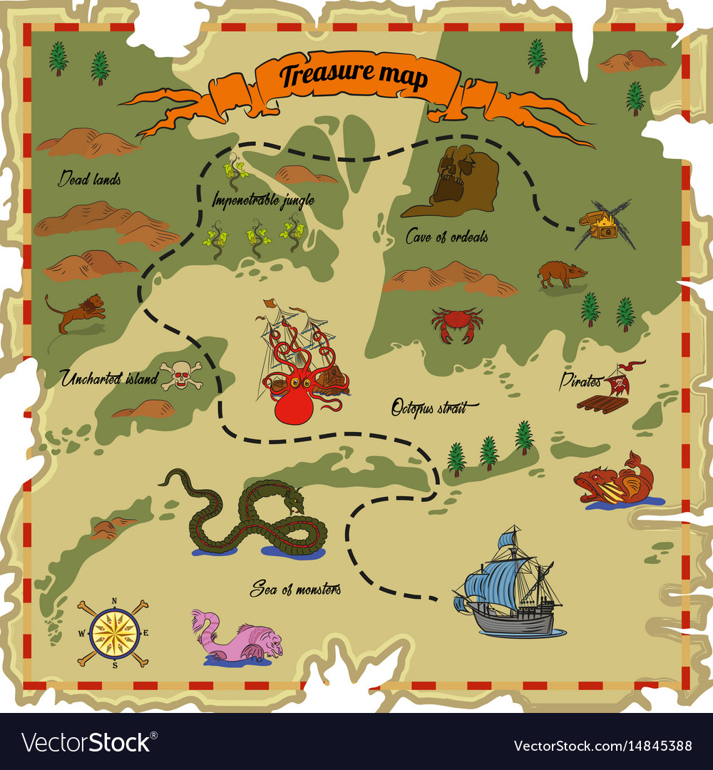 Pirate, Treasure, Map, Sea & Monster Vector Images (47) on