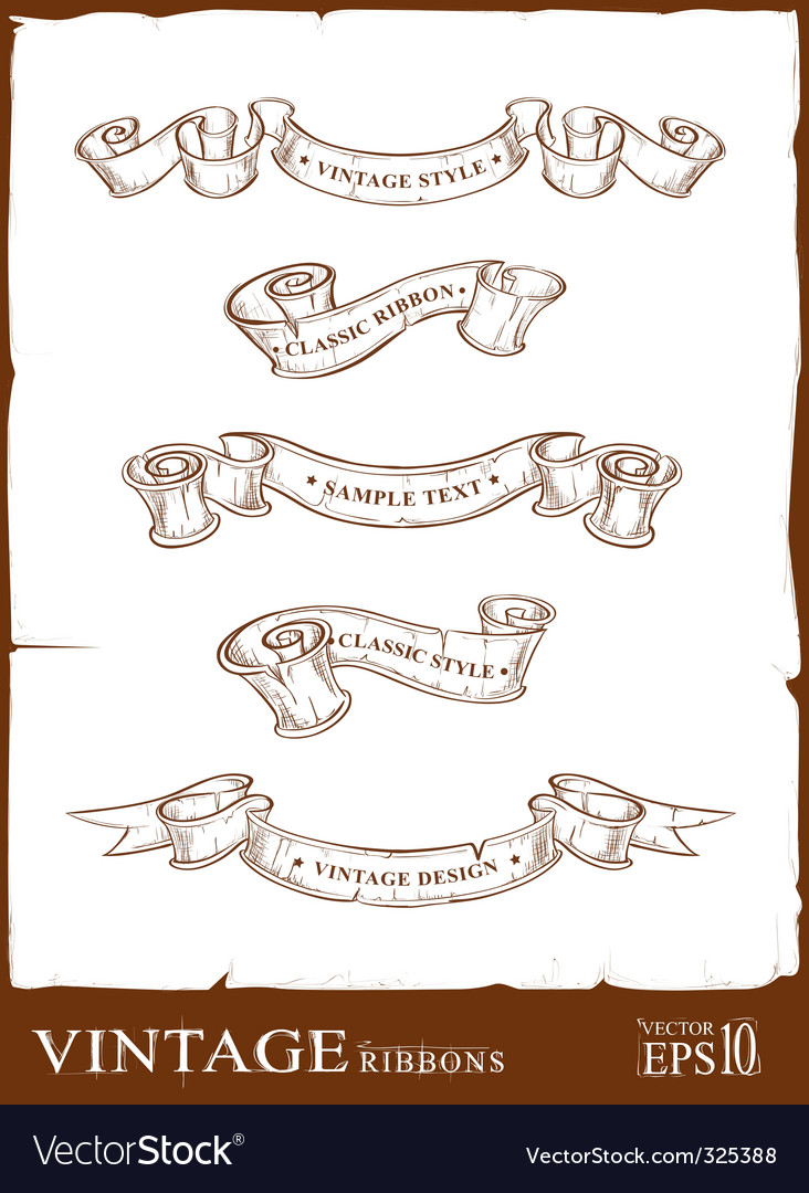 Vintage ribbons set vector image