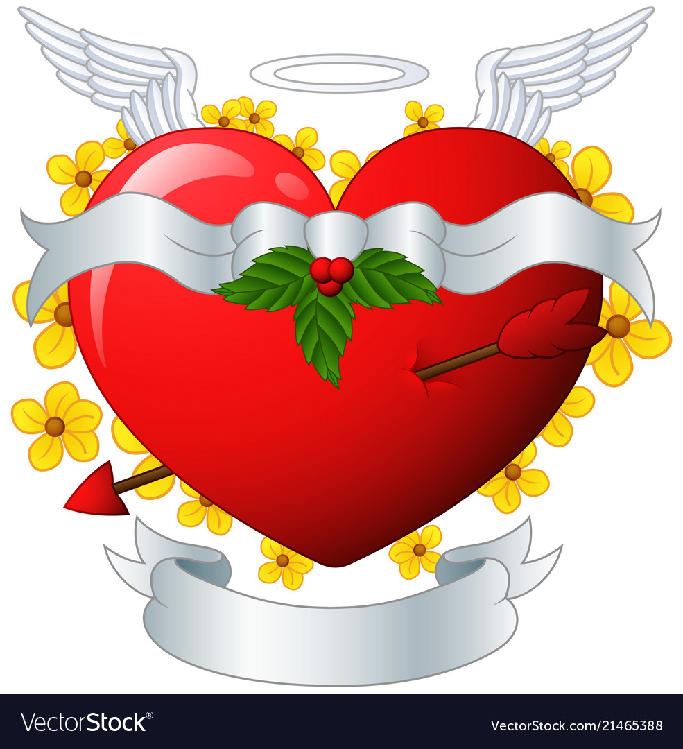 Winged heart banner with arrow and flower