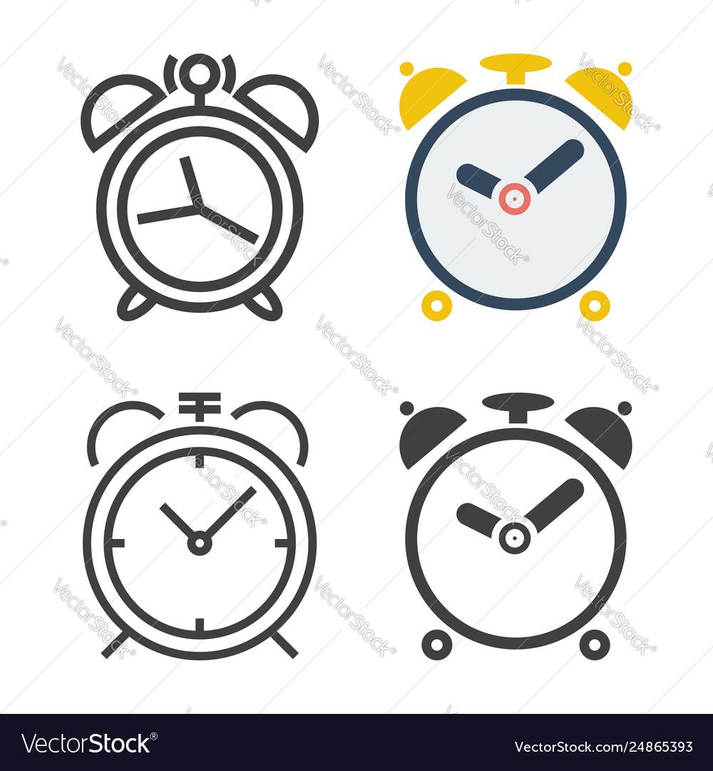 Alarm clock icons set