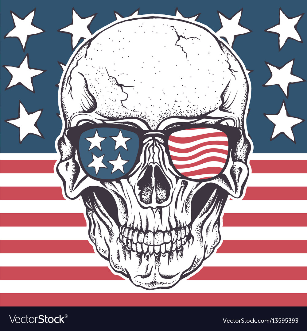 american skull in sunglasses on usa flag vector image