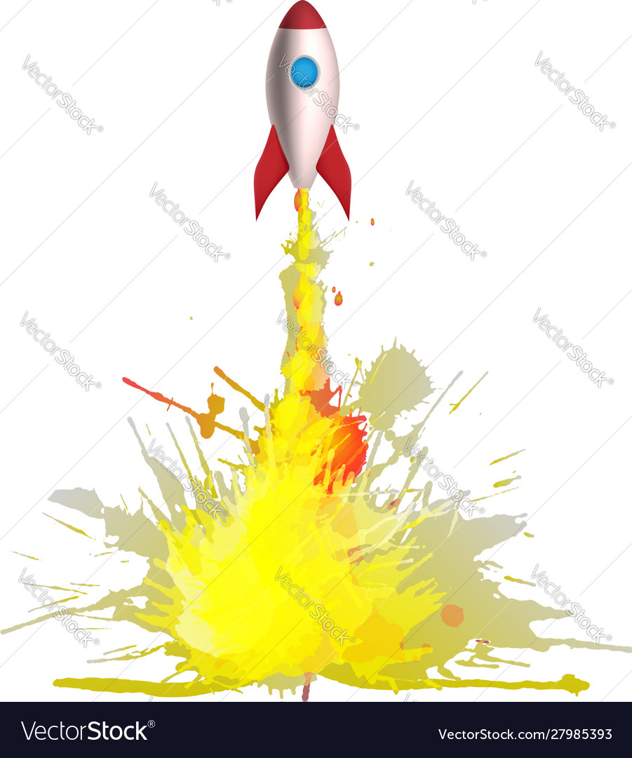 Cartoon rocket with flames made colorful