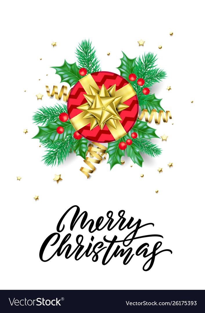 Christmas gift in golden sparkling stars confetti