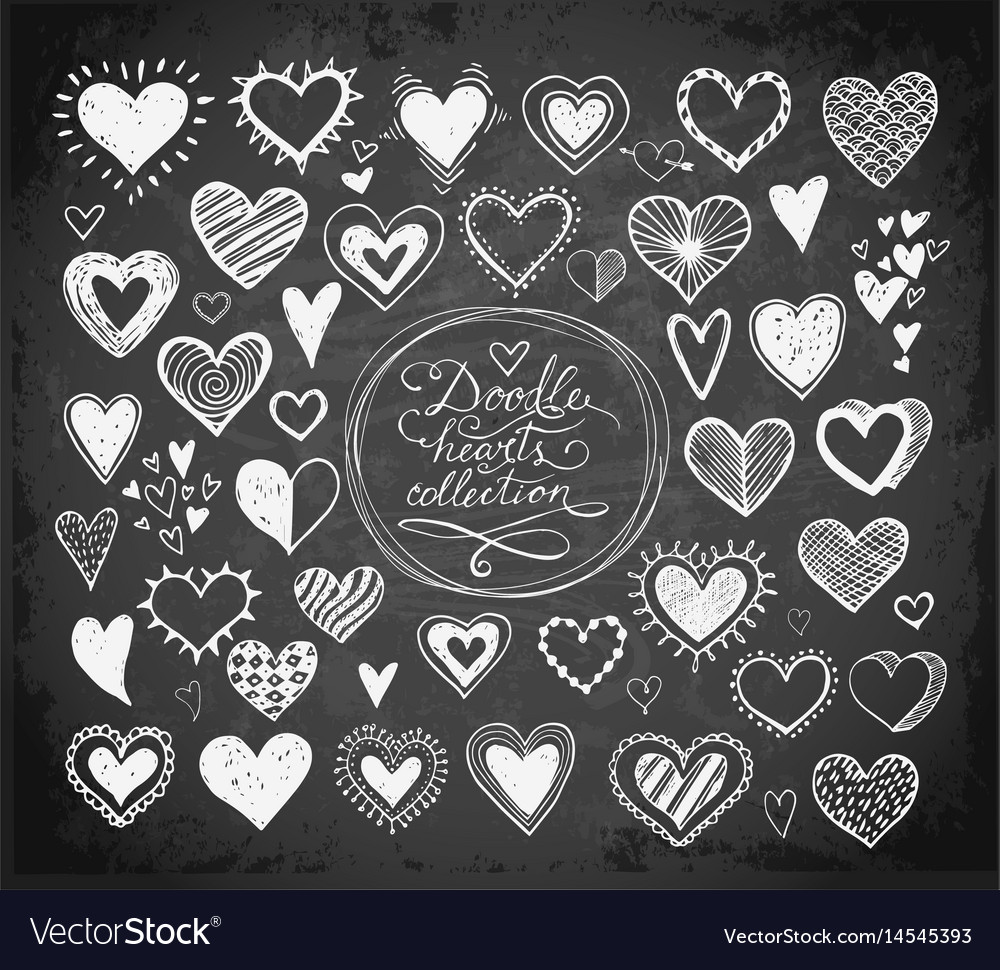 Collection of doodle sketch hearts hand drawn with