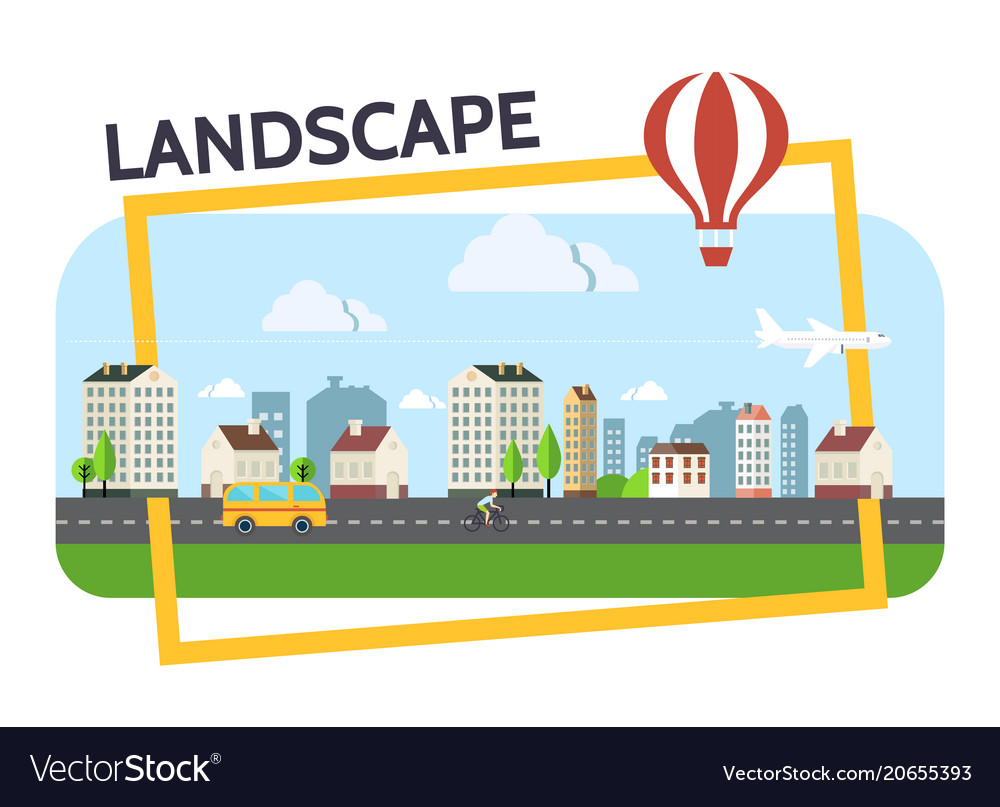 Flat city landscape composition