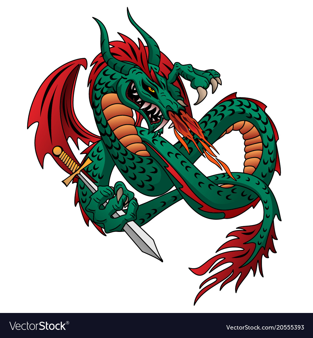 Flying fire breathing dragon vector image
