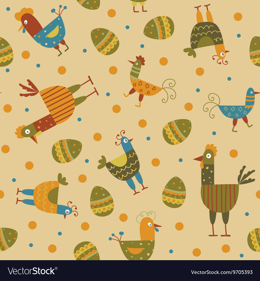 Funny hen seamless background