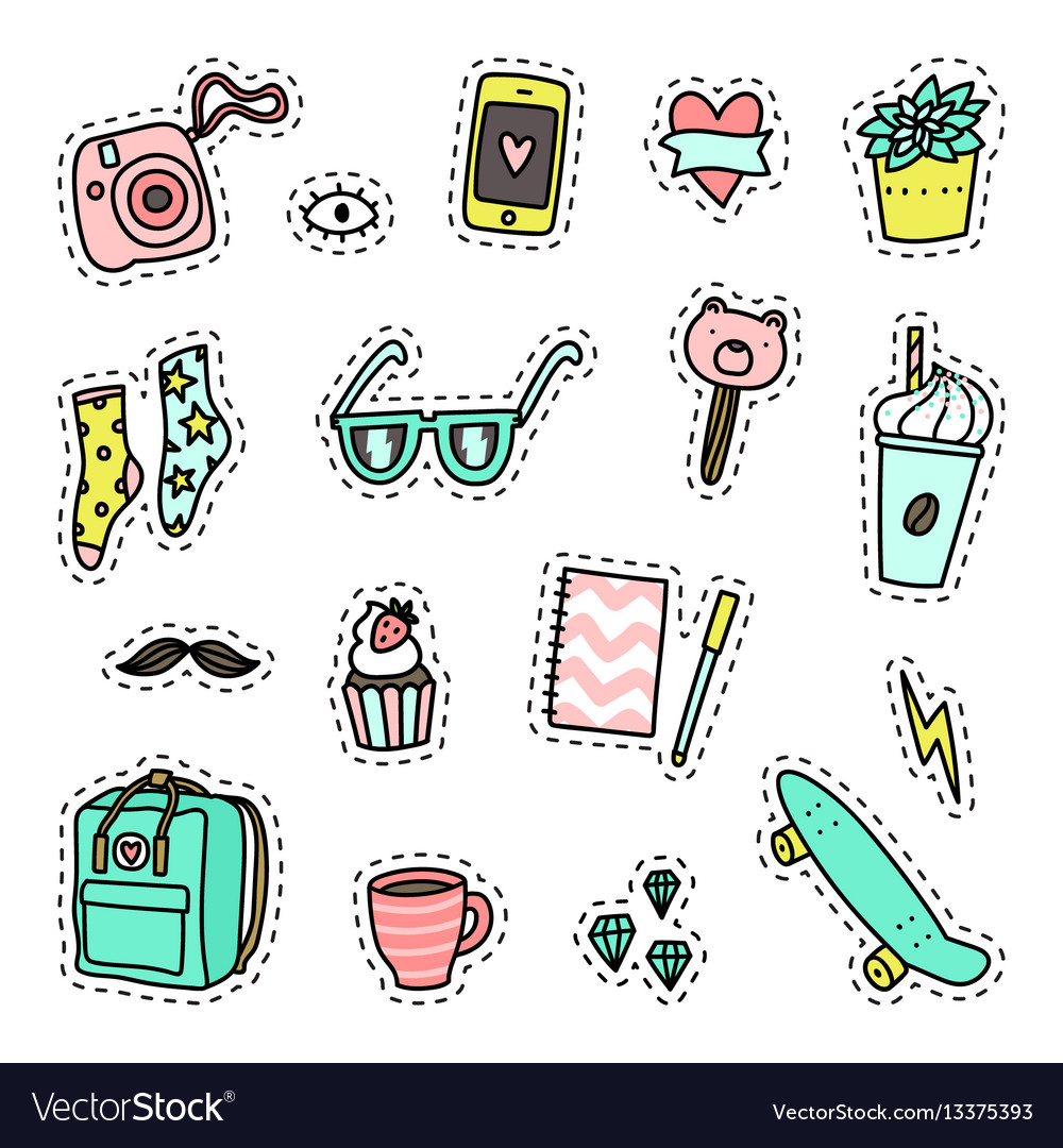Hipster pack set of objects