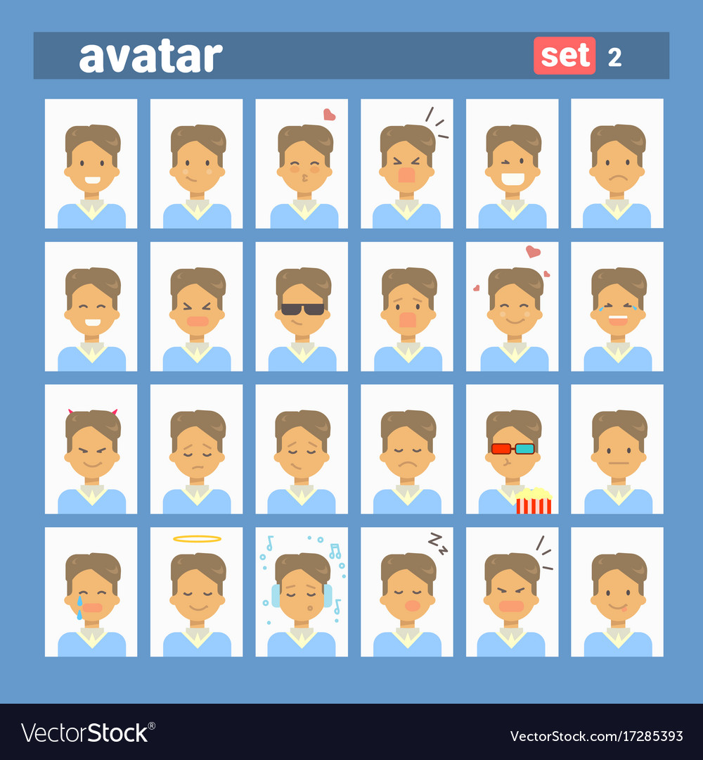 Male different emotion set profile icon man