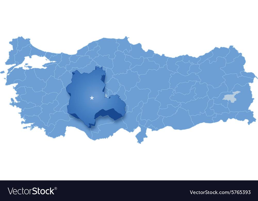 Map of Turkey Konya Royalty Free Vector Image - VectorStock