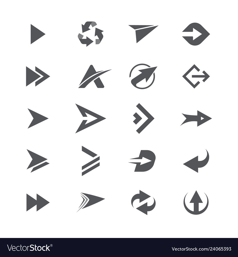 Modern simple icons and logos set of arrows